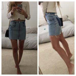 Re/Done Raw Edge Zip Mini Skirt 24